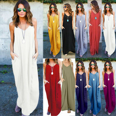 Plus Size Womens Boho Long Maxi Dress Loose Fit Beach Holiday Summer Kaftan 6-24
