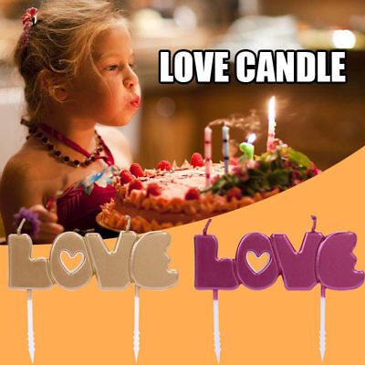 9AE4 Environmental Candles Paraffin LOVE Birthday Party Candle