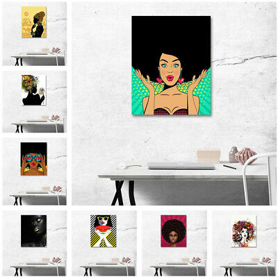 New Abstract Art Wall Decor Painting Canvas Afro African Woman Makeup Black Girl