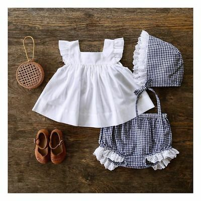 US Cute Newborn Baby Girl Summer Outfit Set Clothes Princess Dress+Pants Shorts
