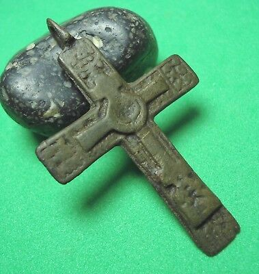 Ancient Bronze Cross Wearable Pendant Antique Rare C72
