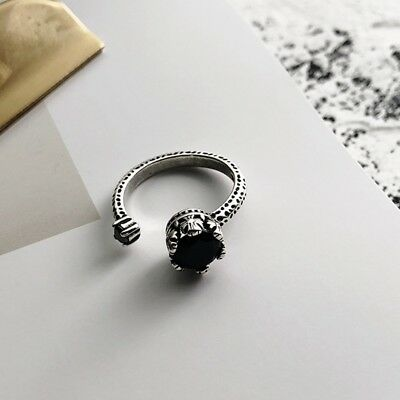 Artificial Black Agate Ring Black Stone Silver Ring Plated Silver Chic Jewelry