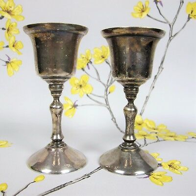 Vintage pair of small silver plated footed GOBLETS / SHERRY or SHOT GLASSES 11cm