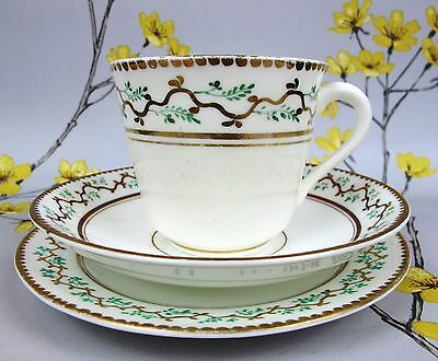 Antique possibly Victorian hand decorated TEA TRIO: Cup, Saucer, Side Cake Plate