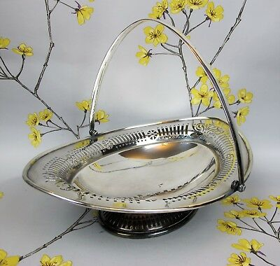 Vintage silver plated Joseph Rogers & Sons oval FRUIT/CAKE BASKET ~ DISH. Handle