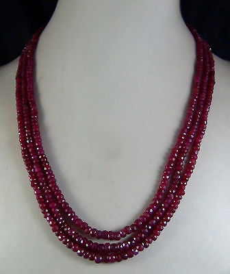 Fashion 5x8mm NATURAL RUBY FACETED BEADS NECKLACE 3 STRAND AAA