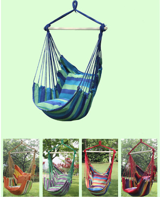 Outdoor Cotton Striped Hanging Hammock Rope Chair Swing Seat for Garden Patio