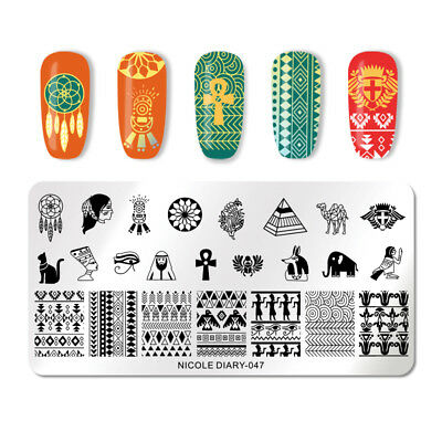 NICOLE DIARY Nail Stamping Plates Stainless Steel Ancient Egypt Art Stencils 047