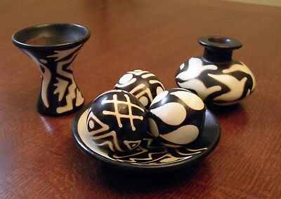 Brand New Made In Chulucanas Peru Traditional Pottery Geometric Design 6 Pieces