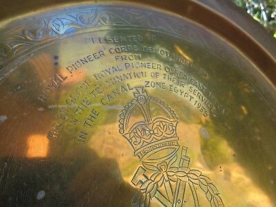 Vintage British Army 'Trench Art' Style Tray - EGYPT CANAL ZONE 1955 - Pioneers