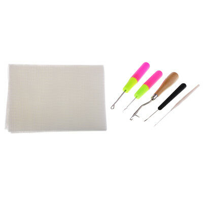 Blank Rug Hooking Mesh Canvas with Basic Tools for Latch Hook Crafts Making