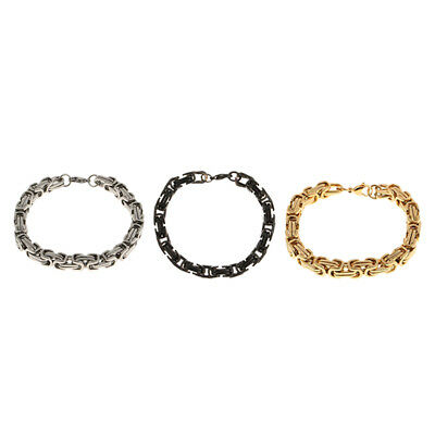 Classic Stainless Steel Link Chain Mens Bracelet Lobster Clasp Connector