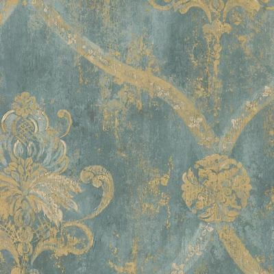 Wallpaper French Faux Aqua Blue Large Damask- Gold CH28248--33 foot long roll