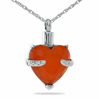 Small/Keepsake Orange Crystal Heart Stainless Steel Pendant Cremation Urn