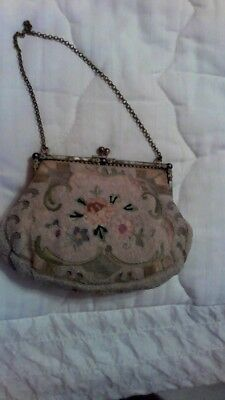 Vintage French Beaded clutch Purse w/flower design and brass frame & strap