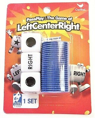 Left Center Right Dice Game, with Velvet Drawstring Storage Bag