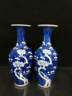 China Qing Dynasty Blue and white Frost Plum blossom Flower bottle a pair
