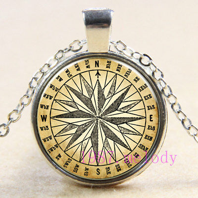 Creative jewelry Cabochon Glass silver Necklace pendants:ancient compass