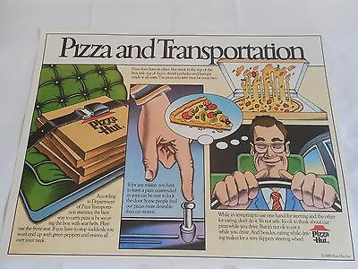 Pizza Hut Placemat Pizza and Transportation w/ Care Bear Puzzles Unused 1985