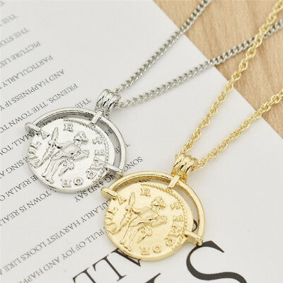 Ancient Roman Gold Coin Round Pendant Necklace Talisman Charm Men Women Jewelry