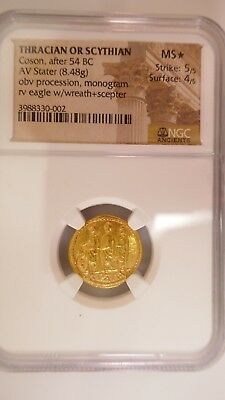 Thracian/Scythian Gold Stater Coson (1st Century BC) Ch MS* NGC