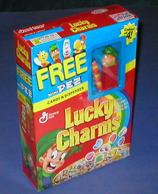 ☆ SEALED General Mills LUCKY CHARMS CEREAL BOX w PEZ Dispenser Premium MIB
