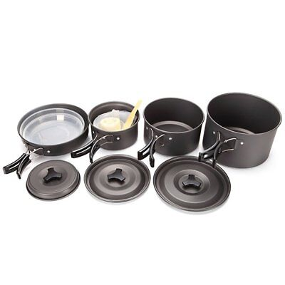 Outdoor Camping Cookware Set Non-stick Frying Pan Pot with Fodlable Handle GA