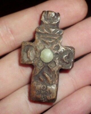 Roman Byzantine Christian Bone Cross Pendant Amulet /w Stone - 700 Ad - Wearable