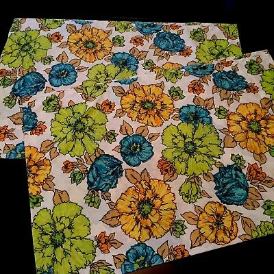 Vintage Pillowcases 1970's Floral Fashion Manor Penn Prest Percale Std JC Penny