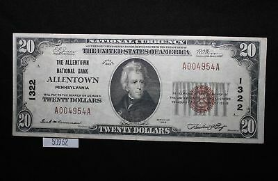 West Point Coins ~ National Currency $20 Note - Allentown Bank, PA #1322