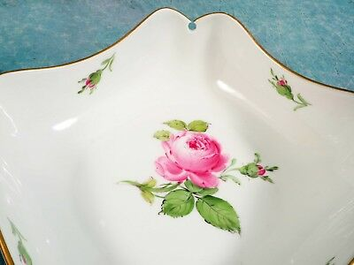 MEISSEN Pink Rose Square Serving Bowl Ruffled Keyhole Corners