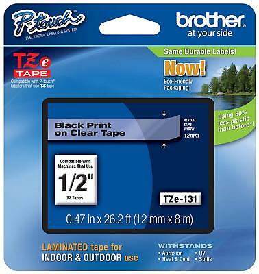 "- Genuine Brother TZe-131 - 12mm 1/2"" Black on clear P-Touch TZ tape !"