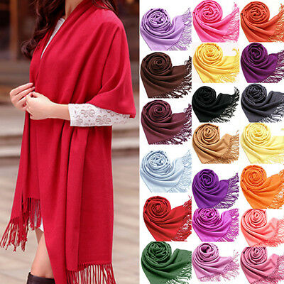 Fashion Women Winter soft Cashmere Silk Solid Long Pashmina Shawl Wrap Scarf UK