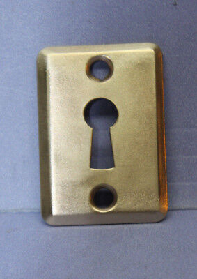Antique Vintage Solid Brass Keyhole Escutcheon Cover Plate w/ Screws -New Old St