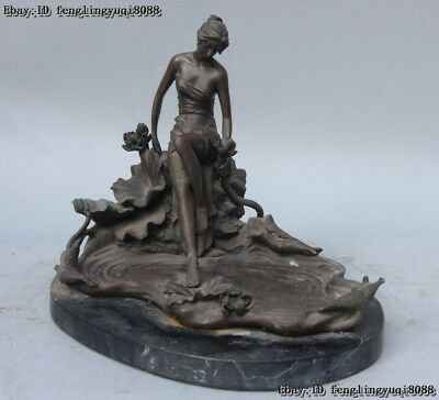 Chinese sculpture Bronze Copper marble Sit lotus flower wench maiden lass Statue