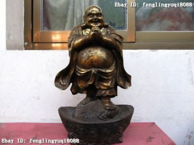 "19"" Chinese vintage Copper Bronze Lucky arhat Maitreya Buddha on Yuan Bao Statue"