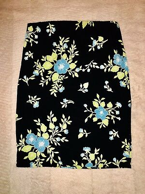 NEW without tag Maternity XL Stretchy Floral Black & Blue Pregnancy Pencil Skirt