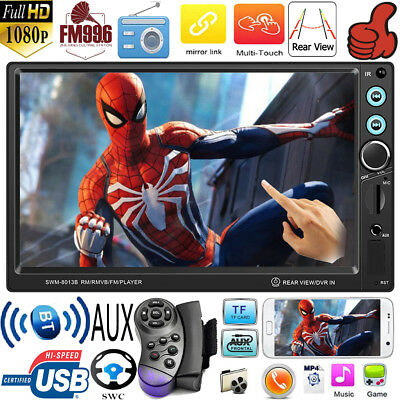 7in Double 2Din Touch 1080p ISO AUX USB Car Stereo MP5 Player Bluetooth FM Radio