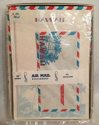 Rare Vintage 90pc Complete Box Air Mail Stationery HAWAII Palm Trees