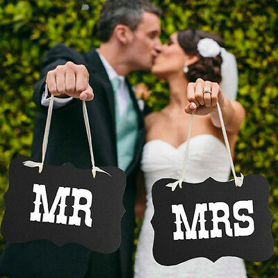 Mr. and Mrs. Photo Booth Props, 1pc Chair Signs Wedding Reception Decor SEAU