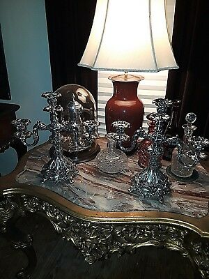 -Pair Of Antique Reed And Barton 3 Branch Candelabras ~ Silver Plate ~ Ornate