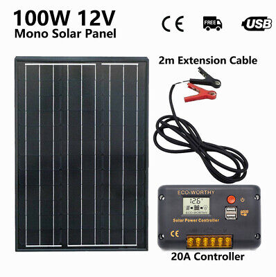 12V 100W Solar Panel Kit Portable 100Watts 20A Regulator Camping Battery Charge