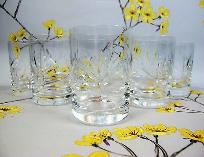 Superb vintage cut crystal glass set of 6 x WHISKEY WATER TUMBLERS. 120 ml