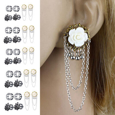 3 Pairs Stainless Steel Tunnel Plugs Flower Chain Dangle Gauge 2g-5/8''