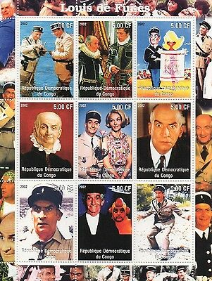 Louis De Funes French Comedy Actor Congo 2002 Mnh Stamp Sheetlet