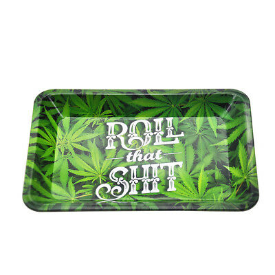 1 X 18cm*12.5cm Leaves Metal Roller Rolling Tray Tobacco Smoke Accessories