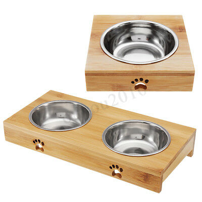 Bamboo Nonslip Pet Dog Cat Feeder Detachable Stainless Steel Food Water Bowl