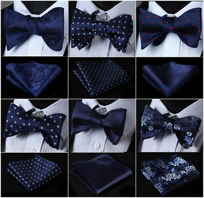 21 Style Men's Navy Blue Self Bow Tie Set Woven Silk Pocket Square Party Wedding