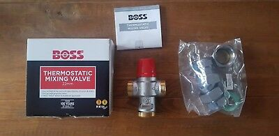 BOSS Thermostatic Mixing Valve 22mm - Comes With All Fittings & Instructions
