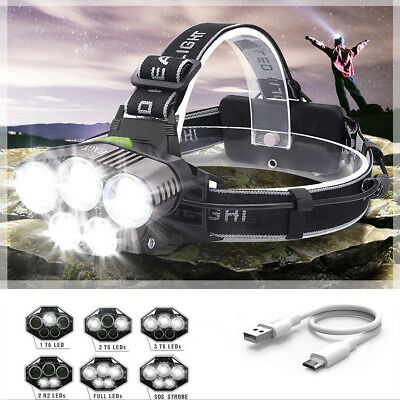 90000LM 5X T6 LED Rechargeable Headlamp Headlight Torch Super-bright Flashlight